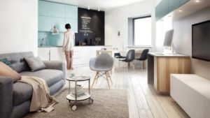 Although originally designed with just one bedroom, the team at Int2 was able to turn this 64 square meter St. Petersburg apartment into a space able to accommodate a master bedroom as well as a separate room for a child. Again, creative storage and cool, neutral color schemes keep this sunny apartment feeling very livable despite its constraints.