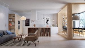 """This goal of the Int2 team in this final St. Petersburg apartment was to maximize open space while giving the occupant dedicated, functional areas for living. This began with inserting a separate but open """"dining room"""" in the form of a wooden box, with accordion windows that let in plenty of fresh air and sunlight."""