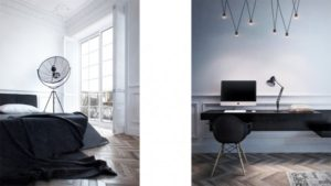 A built in desk surface gives a practical work area without bringing in any bulky furnishings.