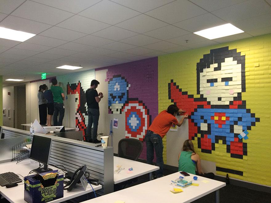 office-wall-post-it-art-superheroes-ben-brucker-11
