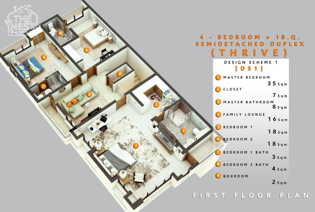 4 bedroom plus 1 bq. semi detached duplex